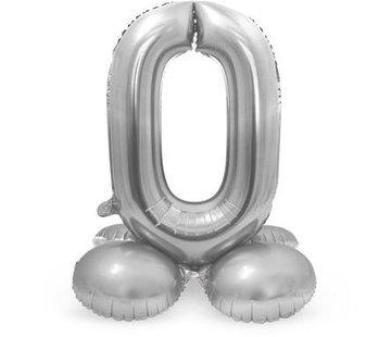 Cijfer Ballon Zilver 0 Met Standaard - 72 cm