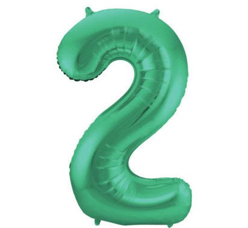Cijfer Ballon Mat Groen Metallic 2 - 86cm