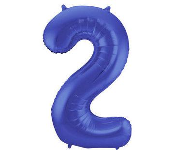 Cijfer Ballon Mat Blauw Metallic 2 - 86cm