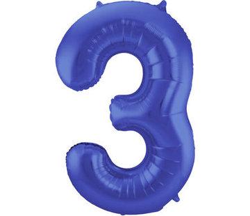 Cijfer Ballon Mat Blauw Metallic 3 - 86cm