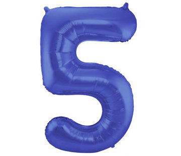 Cijfer Ballon Mat Blauw Metallic 5 - 86cm