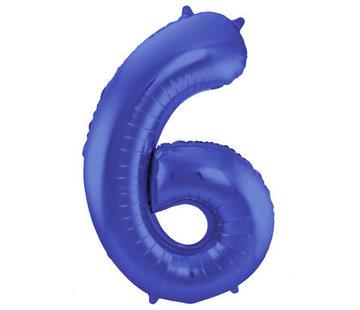 Cijfer Ballon Mat Blauw Metallic 6 - 86cm
