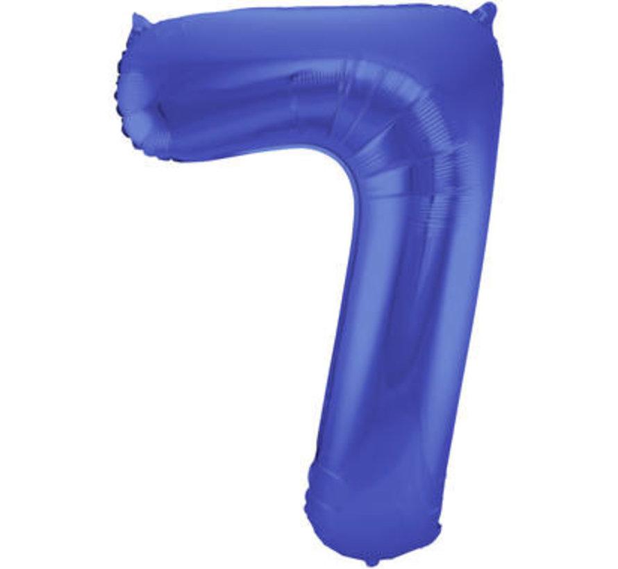 Cijfer Ballon Mat Blauw Metallic 7 - 86cm
