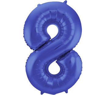 Cijfer Ballon Mat Blauw Metallic 8 - 86cm