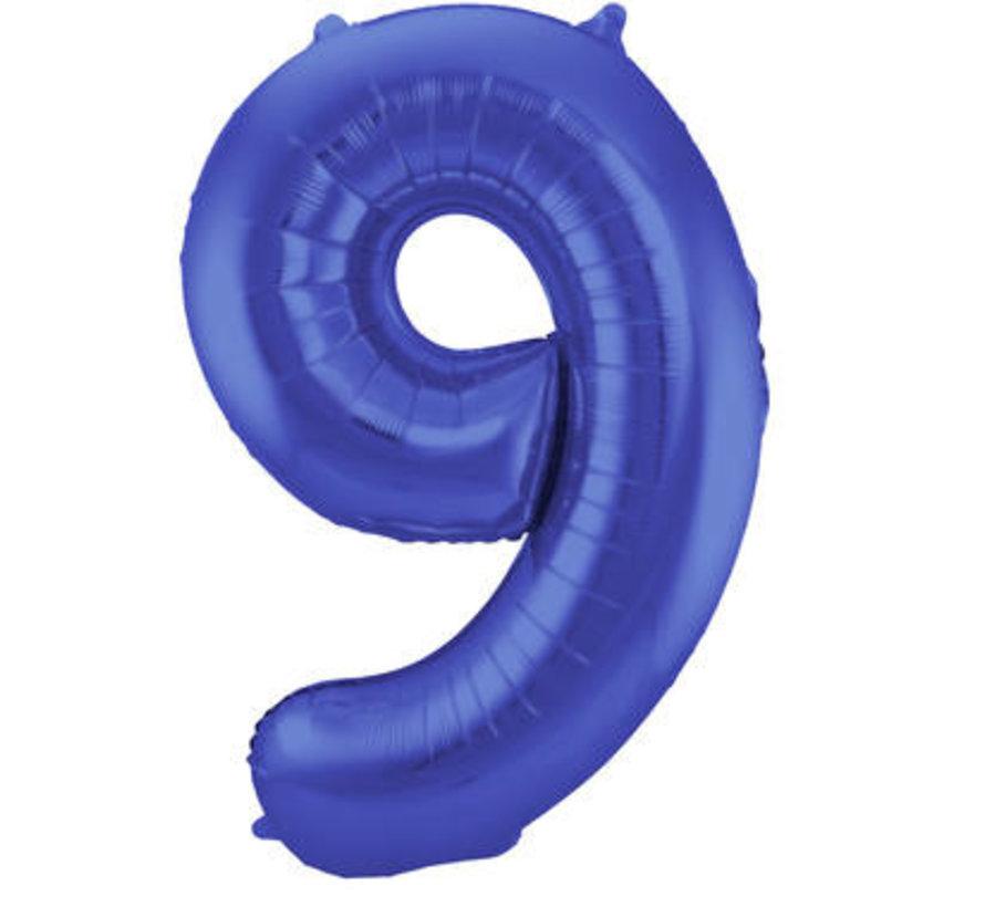 Cijfer Ballon Mat Blauw Metallic 9 - 86cm