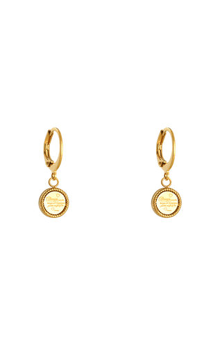 MINOMI EARRINGS CUTE QUOTE GOLD