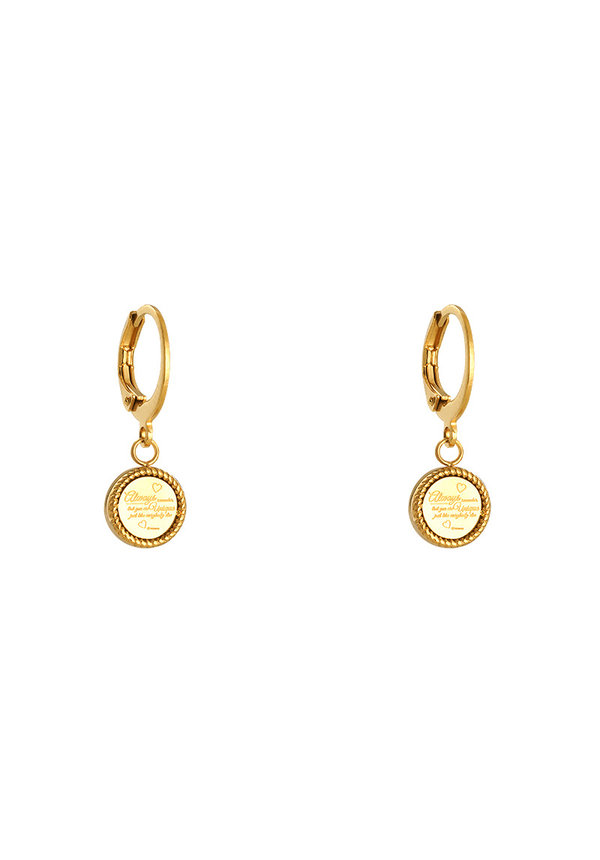 EARRINGS CUTE QUOTE GOLD