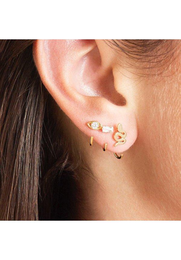 Earrings Huggies Zircon Eye Gold