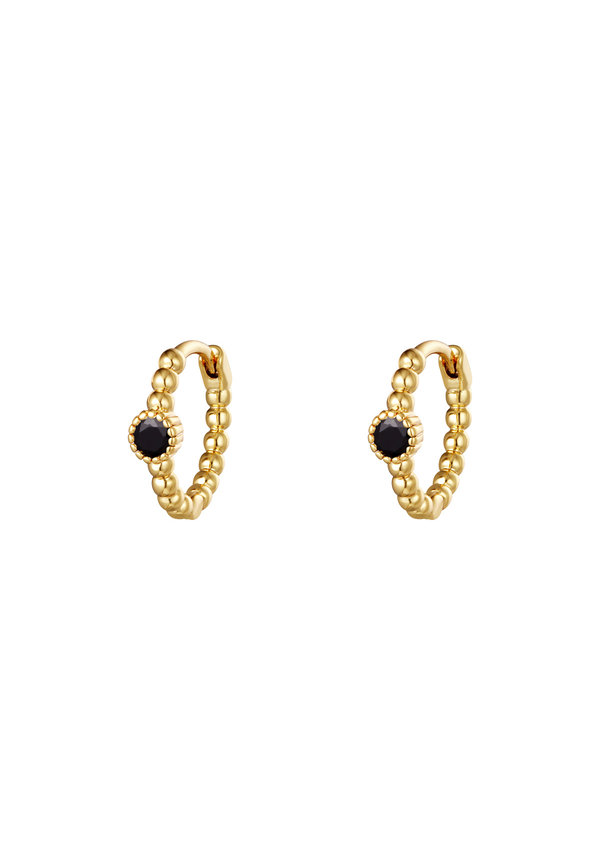 Earrings Pearls In A Row Black