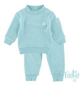 Feetje Pyjama wafel 340 groen melange NOS