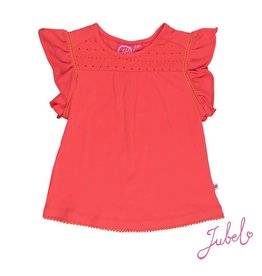 Jubel T-shirt k/m met broderie Sea View Rood