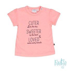 Feetje T-shirt k/m cuter sweeter Cherry sweet roze