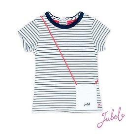 Jubel T-shirt streep marine met tasje
