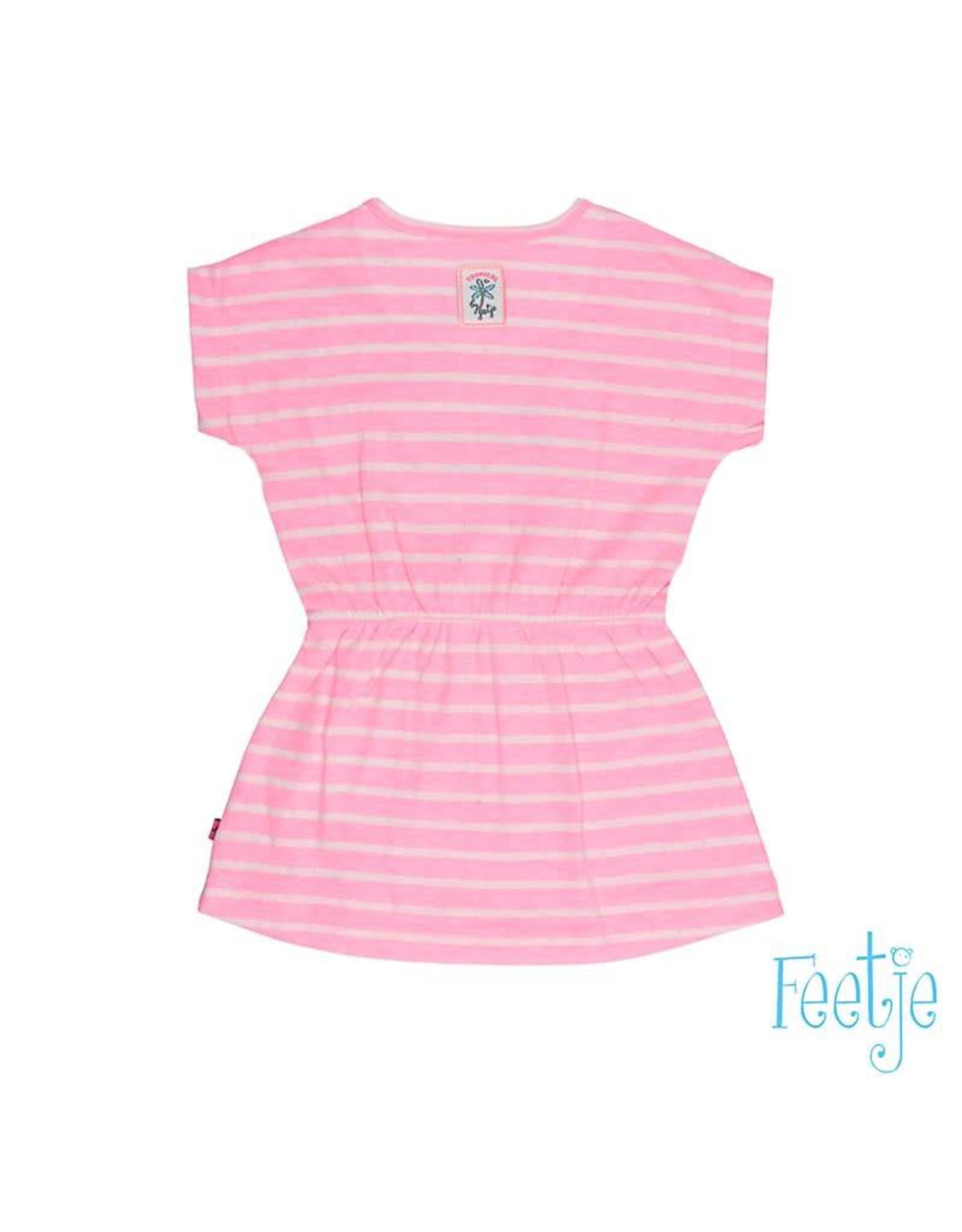 Feetje Jurk k/m streep Tropical girl roze