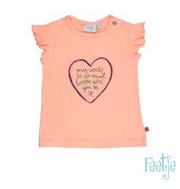Feetje T-shirt k/m hart Tropical girl oranje