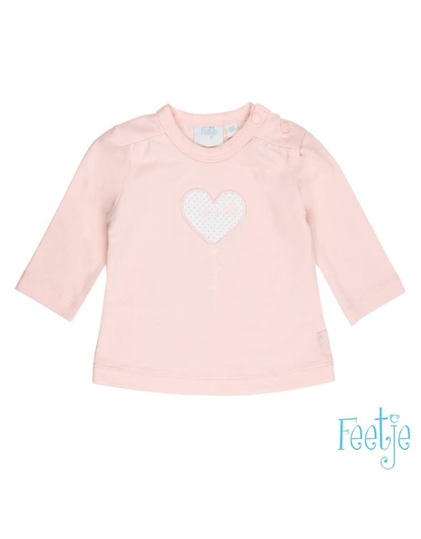 Feetje Longsleeve hart Love you so roze