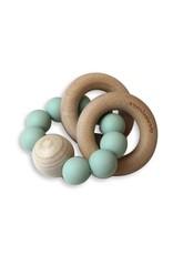 Chewies&more Chewie Rattle met dubbele houten ring en bal vergrijsd blauw
