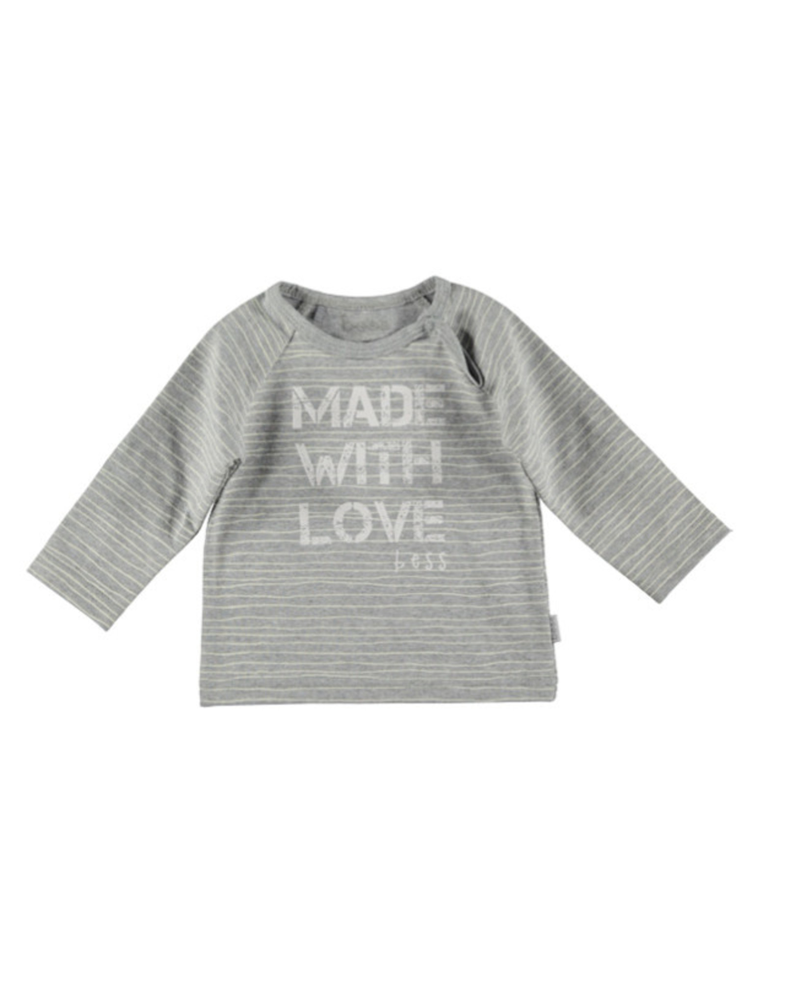 BESS Bess longsleeve Made with love pinstripe white