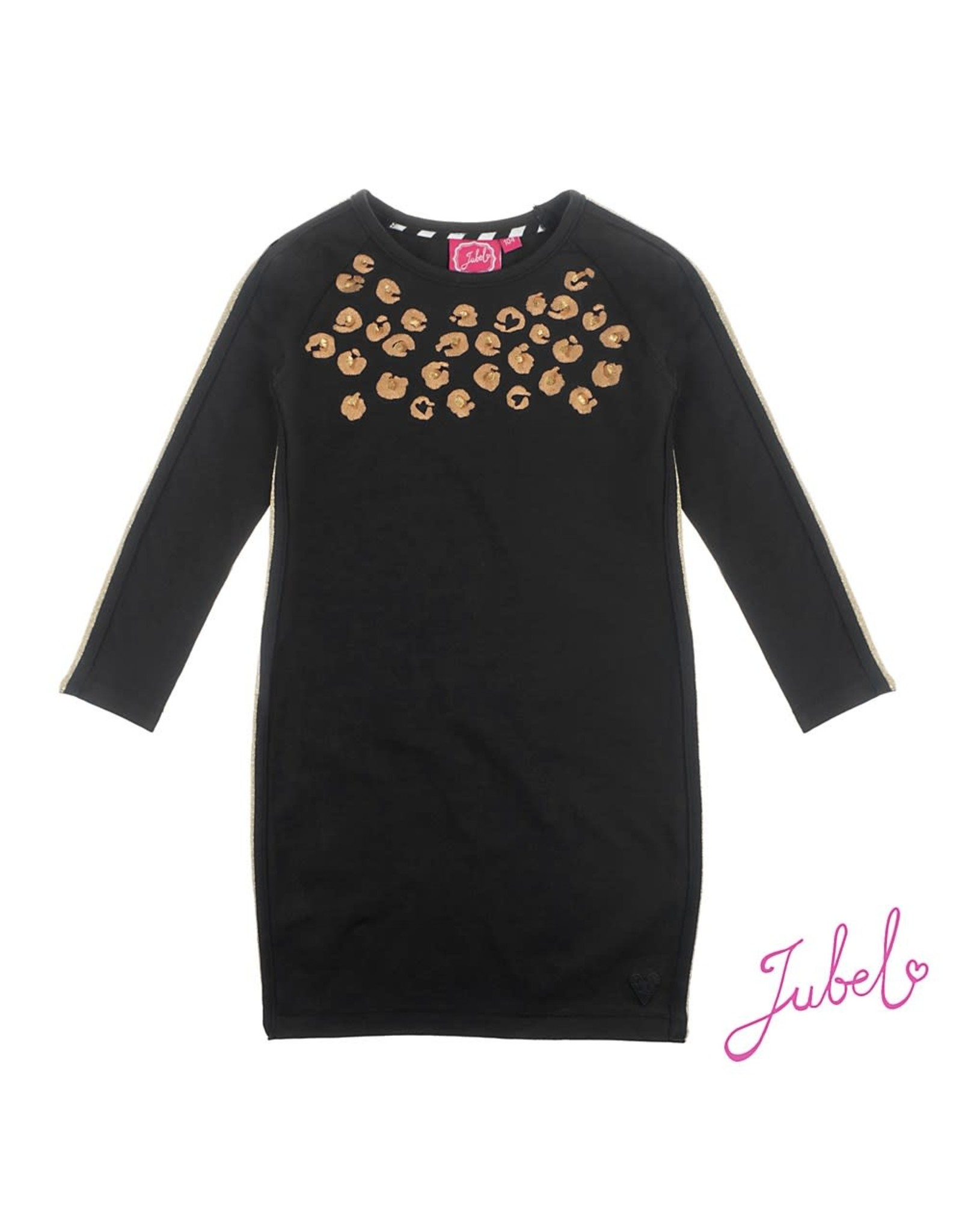 Jubel Jurk met zijstreep - Leopard Lipstick Zwart