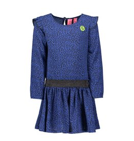 B-nosy Jurk with ruffle at sleeve, zipper on back 181 Blue panther