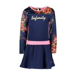 B-nosy Jurk with printed velours sleeves and pink piping 146 Space blue