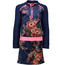 B-nosy Jurk with contrast heavy jersey sleeves and pink piping 146 Space blue