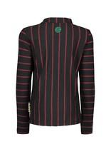 B-nosy Longsleeve stripe shirt with collar, star black fur 93 Black/Red stripe