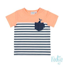 Feetje T-shirt uni / streep - Mr. Good Looks Neon Orange
