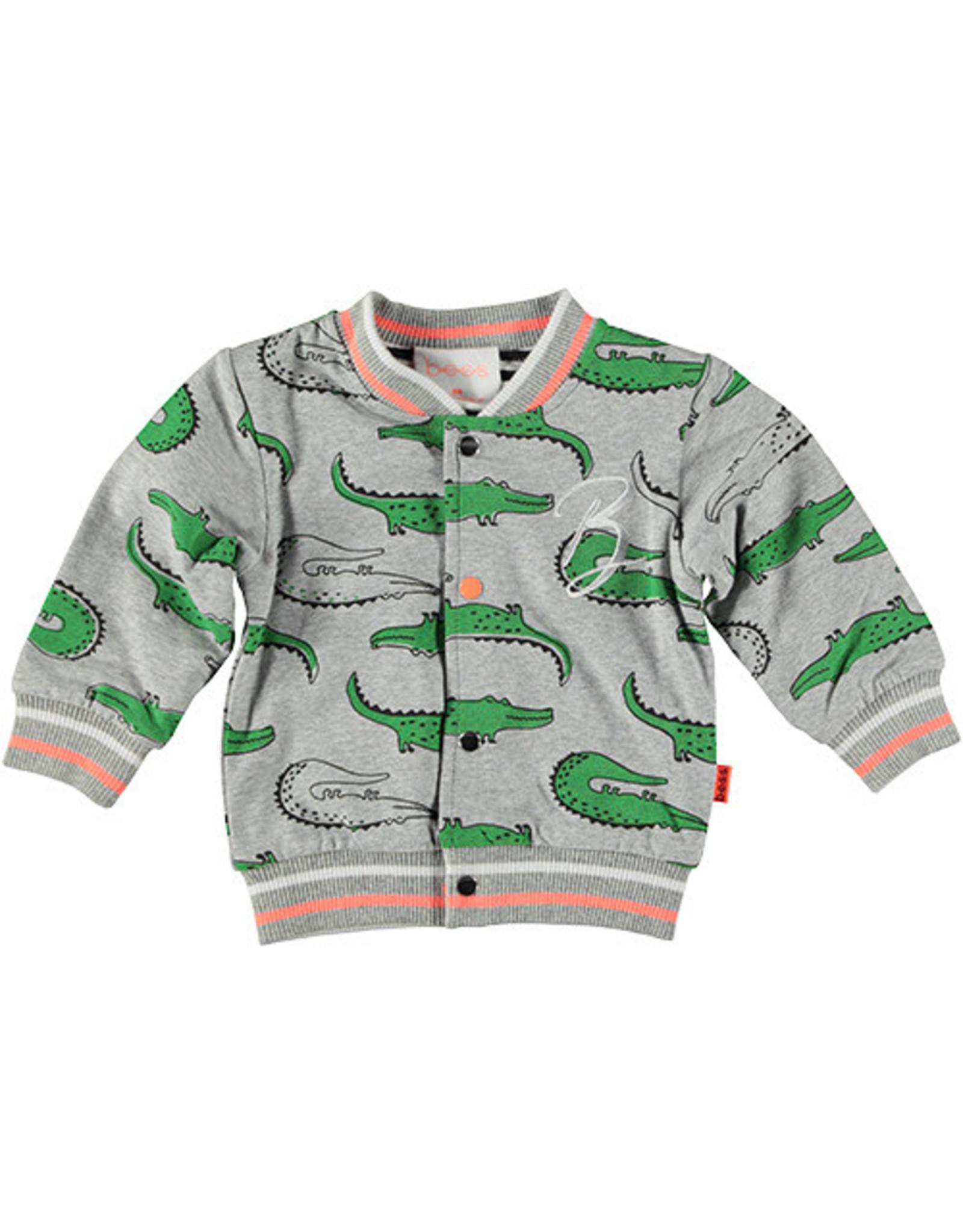 BESS Cardigan Reversible Crocs/Striped 002 Grey