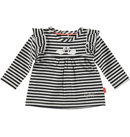 BESS Shirt l.sl. Ruffle Striped 004 Black