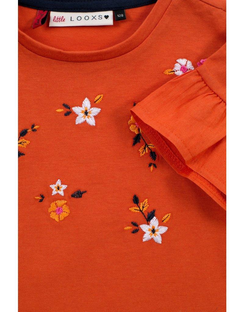 Looxs Little t-shirt poplin ruffle rust