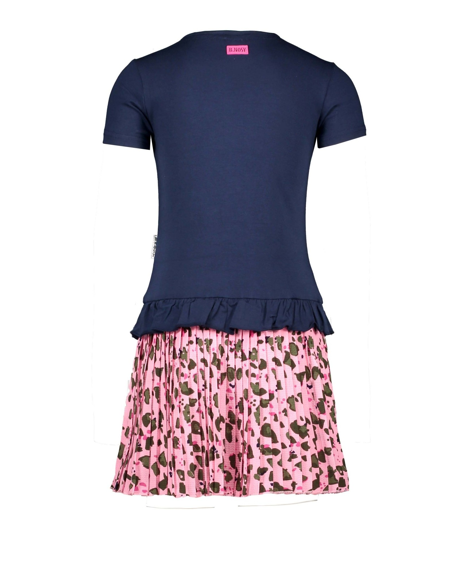 B-nosy Jurk with leo ao plissé skirt and ruffle at hem of the top 146 Space blue