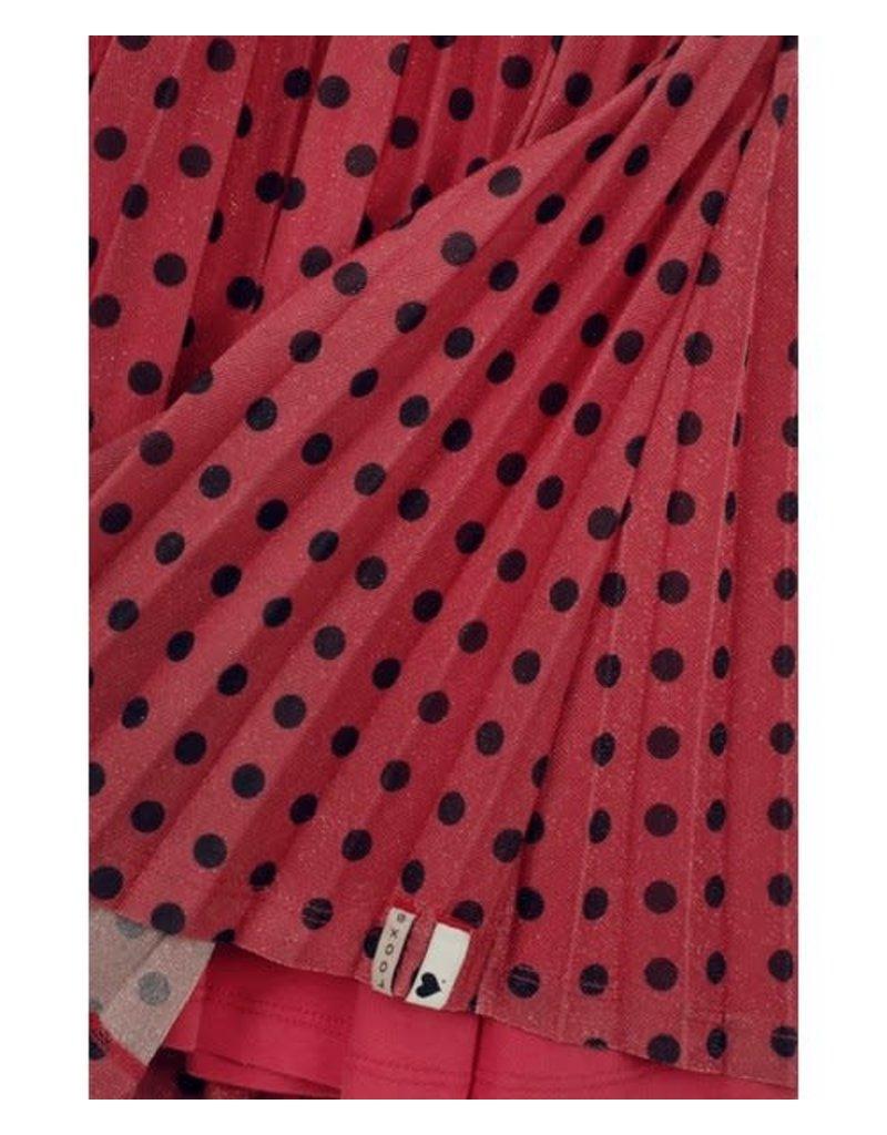 Looxs Little Glitter maxi rok met polkadots Raspberry