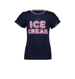 B-nosy T-shirt with cotton lace sleeve and chest artwork 146 Space blue