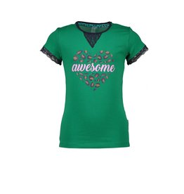 B-nosy Top with small V-lace detail and lace sleeve-end 337 Jade Green