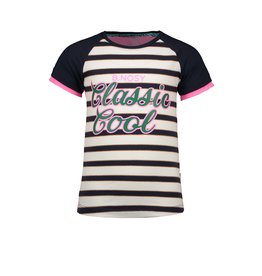 B-nosy T-shirt with contrast raglan sleeve and contrast backpart 75 Oxford stripe