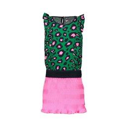 B-nosy Jurk with leo aop toppart and stroke plissé skirt 333 Jade leopard