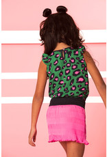 B-nosy Jurk with leo aop toppart and stroke plissé skirt 333 Jade leopard