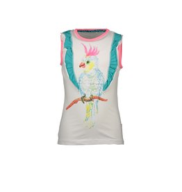 B-nosy Top with 2 ruffle layers and parrot chest artwork 5 Star white
