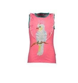 B-nosy Top with 2 ruffle layers and parrot chest artwork 290 Festival pink