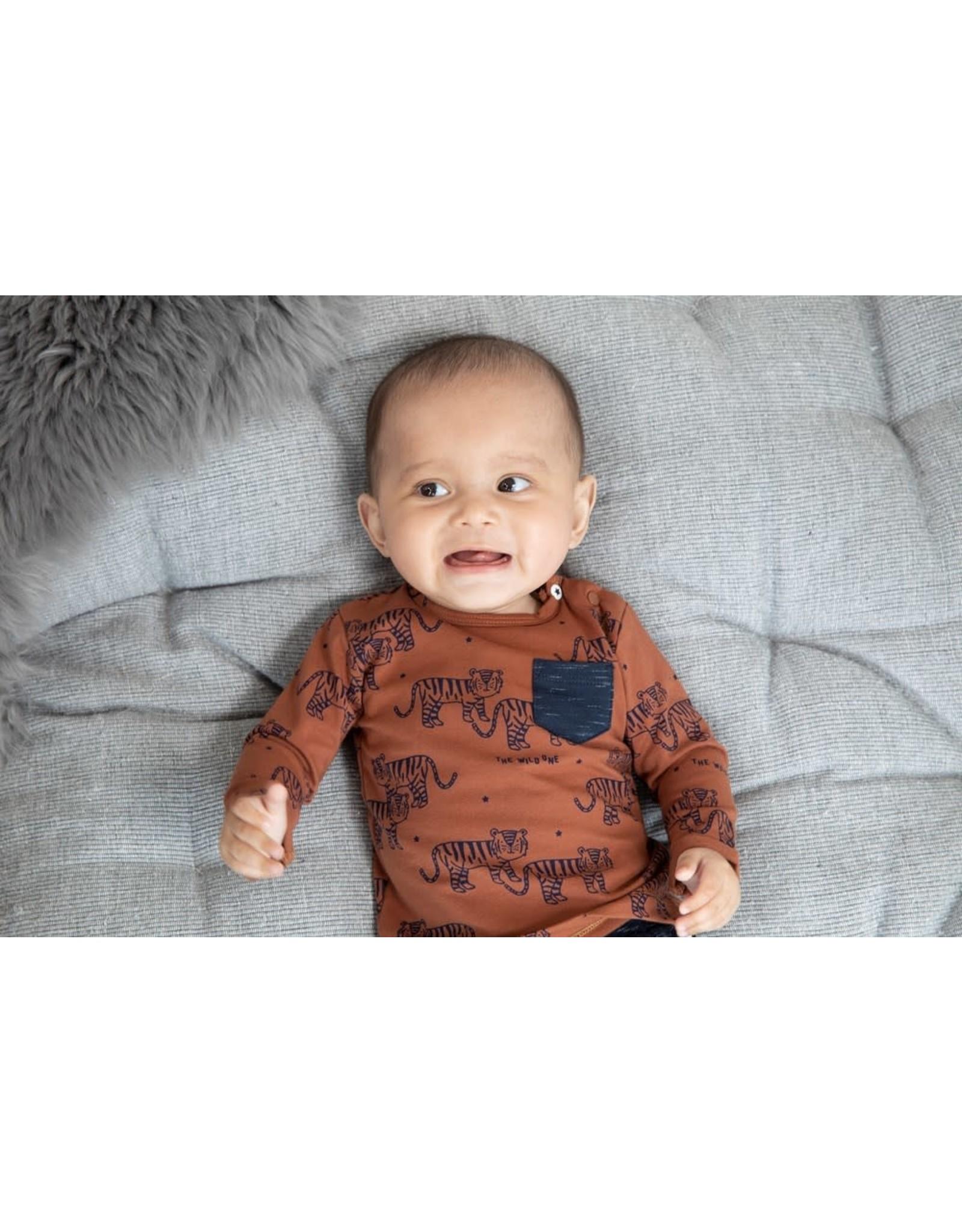 Feetje Longsleeve AOP - Smile & Roar Bruin