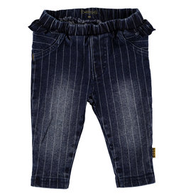 BESS Pants Denim striped Ruffle Stone wash