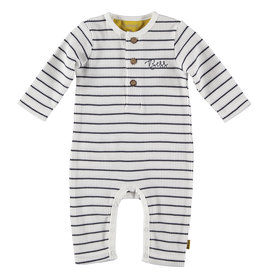 BESS Suit Henley striped White
