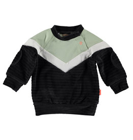 BESS Sweater Velvet Colorblock Antracite