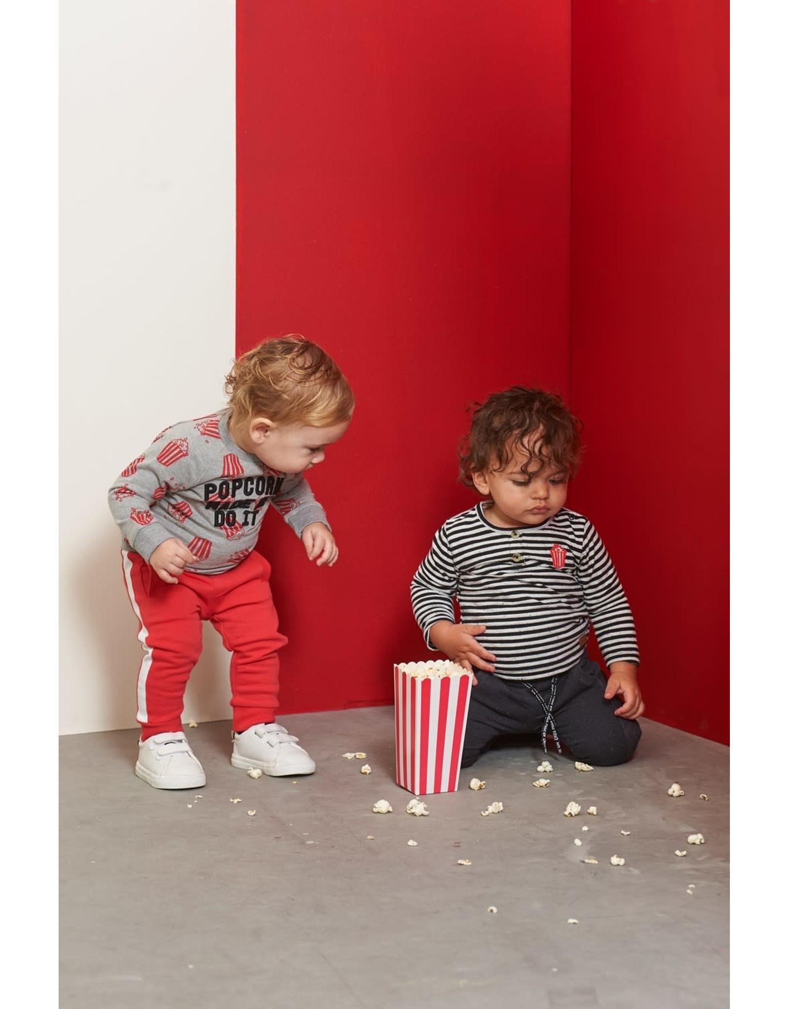 Feetje Longsleeve streep - Popcorn Party Zwart