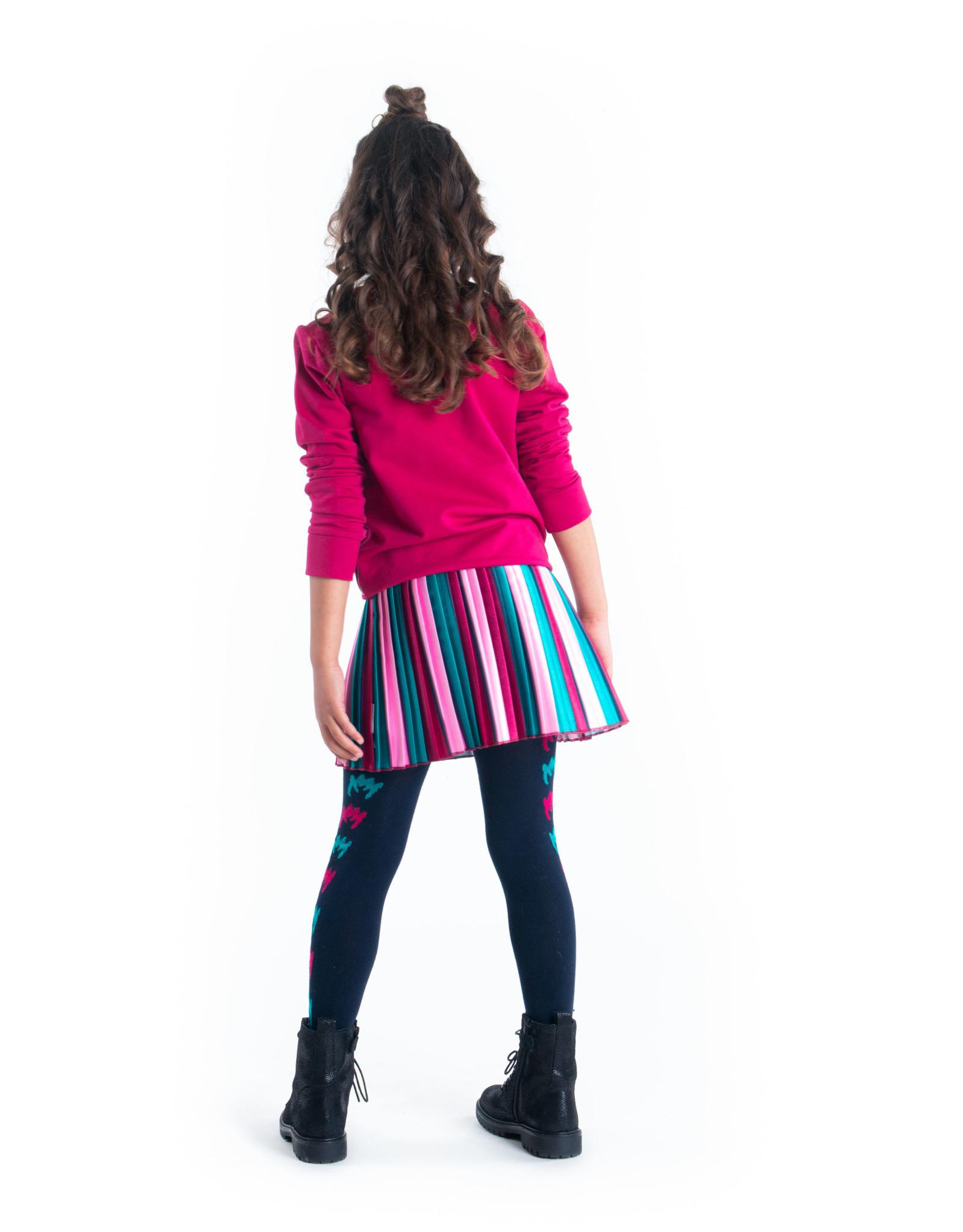 B-nosy Girls satin pleated skirt with vertical stripes 979 Fancy stripe