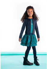 B-nosy Girls cardigan with zipper and tape on sleeves 129 Oxford blue