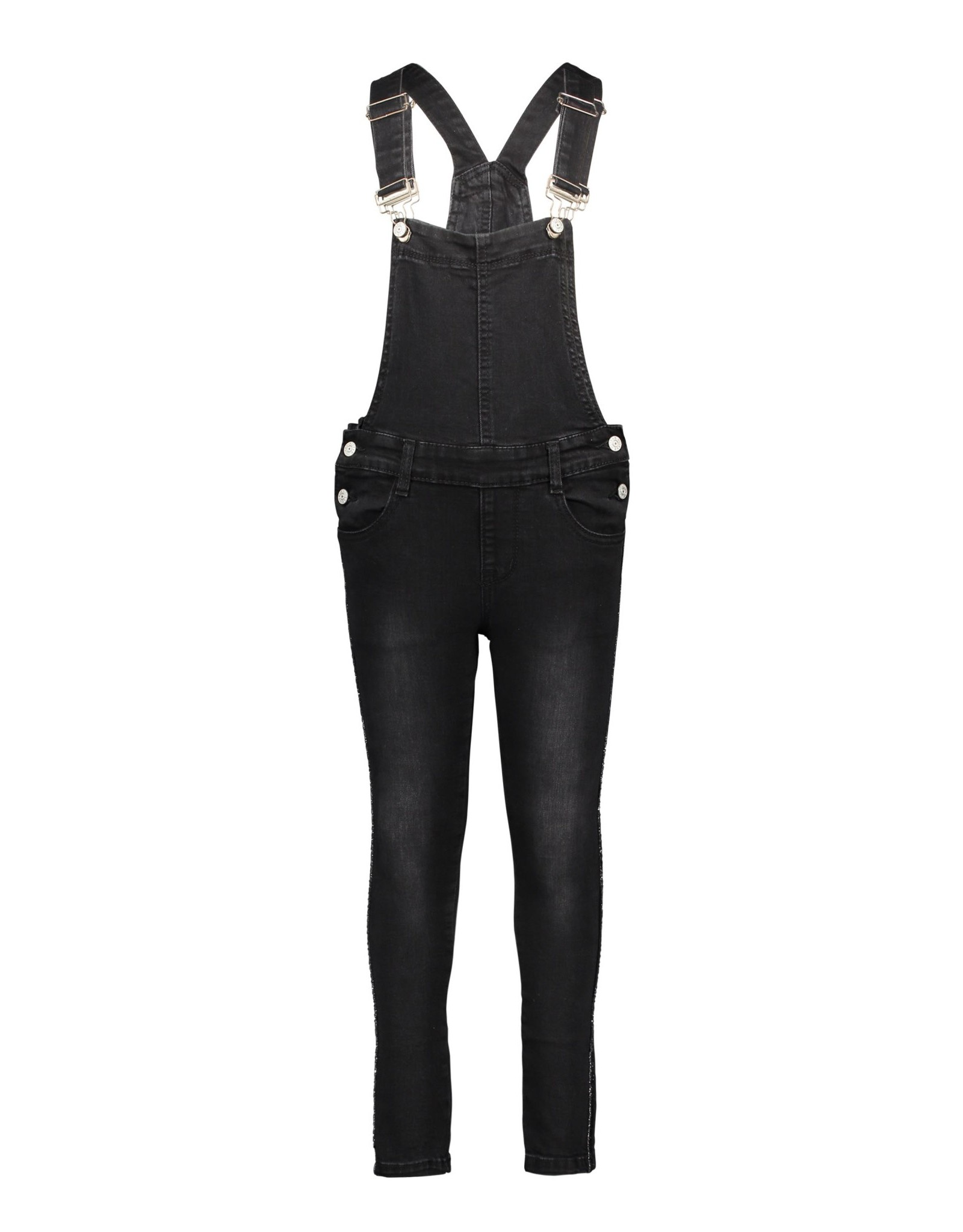 B-nosy Girls stretch denim salopette with fancy tape at sideseams 090 Black denim