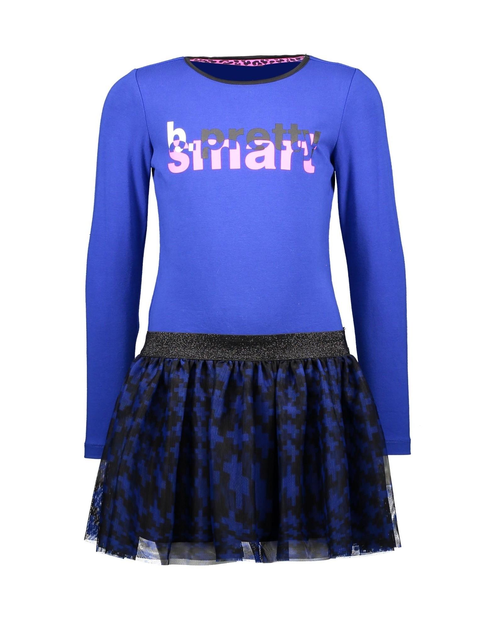 B-nosy Girls dress with pied du poule aop skirt and chest artwork 183 Cobalt blue