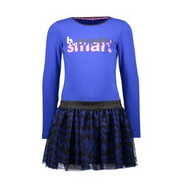 B-nosy Girls dress with pied du poule aop skirt and chest artwork 183 Cobalt blue